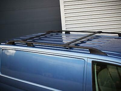 Aluminium Black Roof Rails Cross Bars Rack Set VW Transporter T5 (03-15) [SWB]