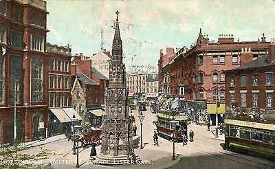 Vintage Postcard Nottingham Walter Fountain Lister Gate Trams Shops Hotel
