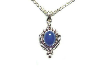 Balinese .925 Sterling Silver Pendant with Blue Agate Stone & Silver Chain