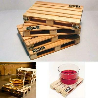 Hot!! 4Pcs Mini Set Wooden Pallet Styled Cup Holder Mat Coffee Drinks Coasters J
