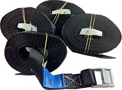 2Tie-Down Straps Lashing Straps 250Kg 4m Black with Clamping Lock Quick
