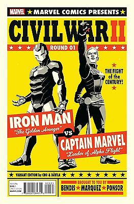 Civil War II #1 Michael Cho Fight Poster Variant Cover Marvel 2016 // VF*