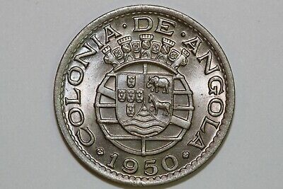 Grades Brilliant Uncirculated 1950 Angola 50 Centavos Coin KM #72 (NUM2438)