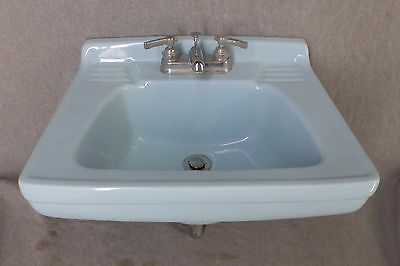 Vtg Mid Century Light Blue Ceramic Bathroom Sink Old Homart Plumbing 1289-16