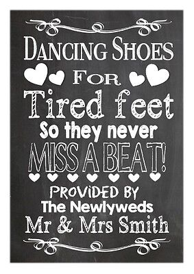 da91a974312b Personalised wedding chalkboard vintage style dancing shoes canvas sign a3  size