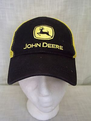 John Deere Black Yellow Mesh Snapback Trucker Hat