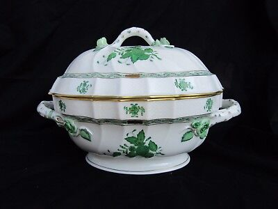 HEREND Green Chinese Bouquet 2 qt Tureen Branch Handle 1014|AV