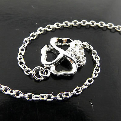 A231 Real 925 Sterling Silver Diamond Simulated Ladies Four Leaf Clover Anklet