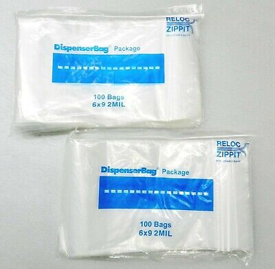 "200 ZIPLOCK BAGS 6x9 CLEAR 2MIL POLY RECLOSABLE BAG 6"" x 9"" ZIP LOCK  200 Pieces"