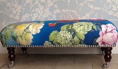 A Quality Long Footstool In Designers Guild Alexandria Lapis Fabric
