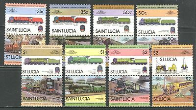 TRAINS, LOCOMOTIVES ON ST LUCIA 1983 Scott 617-624 8 pairs - 16 stamps, MNH