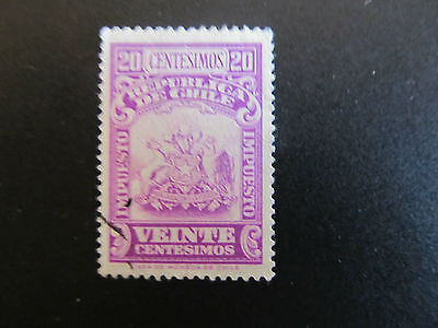 Chile - Tax Stamp - Coat Of Arms -  20 Centesimos