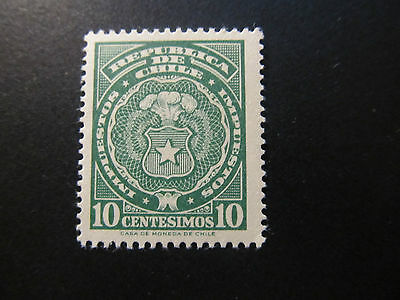 Chile - Tax Stamp - Coat Of Arms - 10 Centesimos
