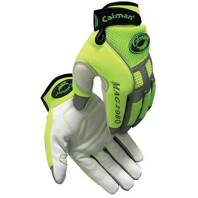 Caiman® Goat Grain Hi-Vis Green Mechanic's SMALL Gloves # 2980
