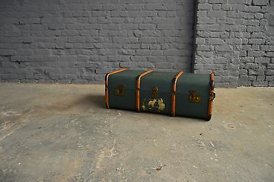 Vintage Antique Steamer Banded Travel Trunk Storage Chest Blue Coffee Table