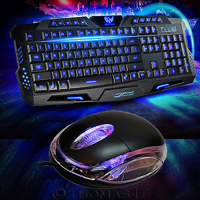 USB LED Illuminated Gaming Keyboard and Optical Scrolling Mouse Wired Combo Set