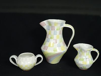SET 0f 3 pcs MACKENZIE CHILDS CERAMIC PITCHER + CREAMER + SUGAR CUP