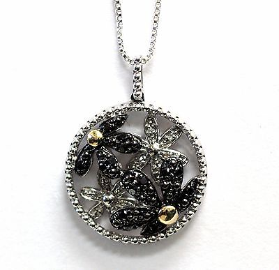 """New 925 sterling silver 14k yellow gold diamond flower pendant 18"""" necklace 5.4g"""