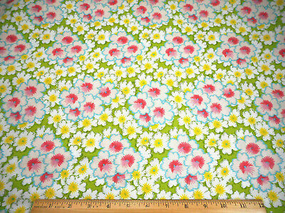 Floral Fabric By The Yard Pink White Yellow Blue On Green Quilt