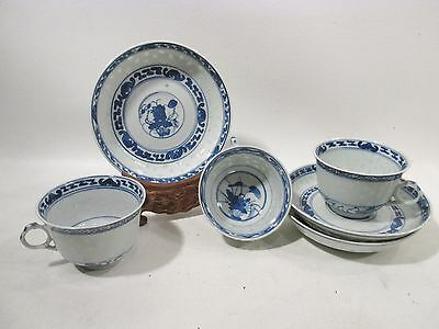 Antique CHINESE Qing Blue & White RICE Pattern HERON & Lotus 3 Cups & Saucers B