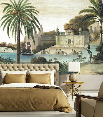 Vintage Castle Palm Tree River  Wallpaper Wall Decals Wall Art Print Mural