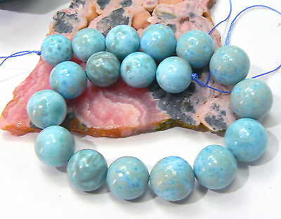 "18 AAA RARE BIG TOP GRAGE ROUND CARIBBEAN BLUE LARIMAR BEADS 8"" STRAND 11-12mm"