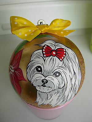 Maltese Handpainted  Christmas Ball Ornament -02++