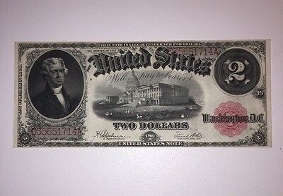 1917 $2 Dollar United States Note Large Bill  Red Seal Speelman/White fr 60