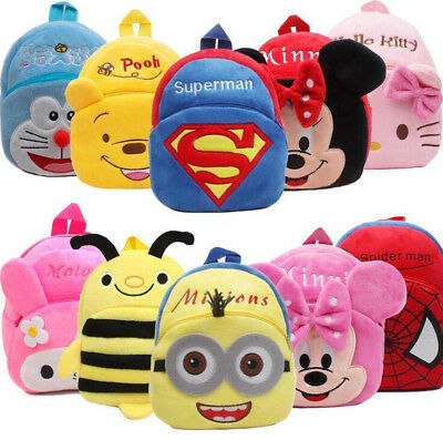 Baby Boys Girls Plush Cartoon Spiderman Backpack Toys Snack Pack Bags Backpack