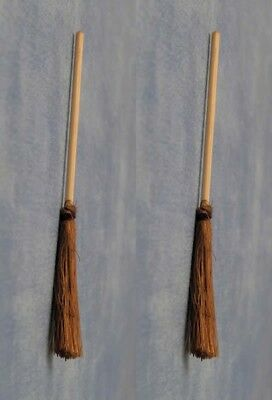 2 Wooden Brooms / Sweeping Brushes, Dolls House Miniature Brooms, 1.12 Scale