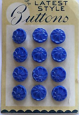 Vintage Glass Buttons - 1930's 12 Small Sky Blue Glass Flower Buttons