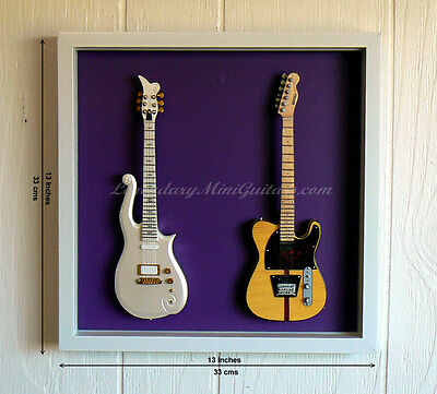 Two Miniature Guitars in Shadow Box