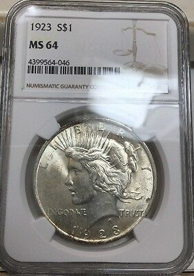 1923 $1 Peace Silver Dollar NGC MS64