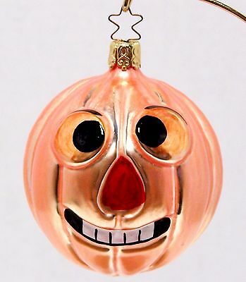 1985 ESTATE Blown Glass GOOFY PUMPKIN Head ORNAMENT Star Top HALLOWEEN W Germany