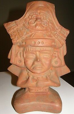 Antique Vintage Mexican Mexico Mayan Aztec Native Indian Clay Pottery god Statue
