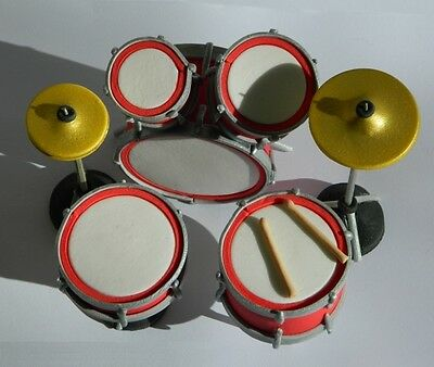 1 edible DRUM KIT cake TOPPER decoration ROCK N ROLL music retro CYMBAL SNARE
