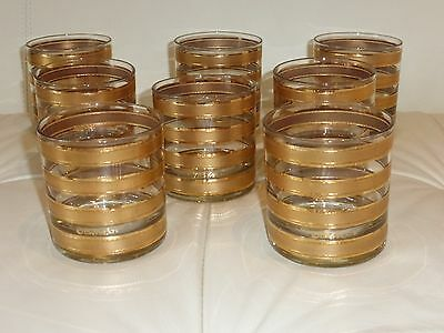 8 Culver Glasses, Gold Banded Old Fashioned Rocks Tumbler Glasses