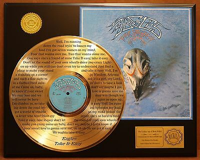 "The Eagles ""Take It Easy"" LTD Edition laser etched lyrics Gold LP display"