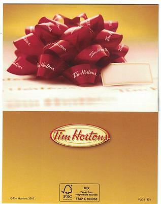 ( 2 ) Tim Hortons 2010 CDN Red Ribbon Gift Card Envelope Covers VLC11974