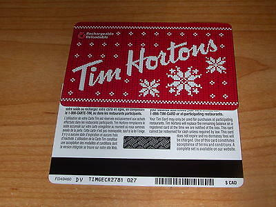 Tim Hortons 2015 Snow Flake Gift Card FD49460 DV