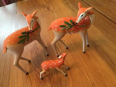 Lot of 3 Resin Deer Figures Doe Fawn Woodland Forest Friends