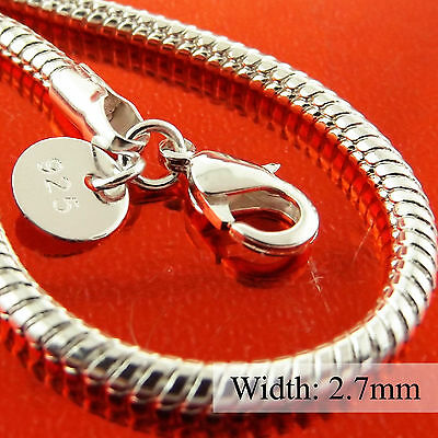 A326 Genuine Real 925 Sterling Silver S/f Mens Ladies Pendant Necklace Chain