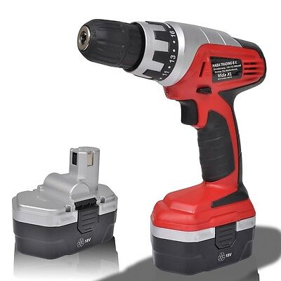 New 18V Cordless Drill Driver Electric Screwdriver Kit Set 2 Ni-Cd Battery Tool