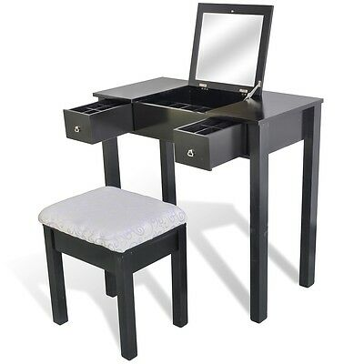 Black Luxury 2 Drawer Dressing Table Jewellery Cabinet Mirror Stool Makeup Set