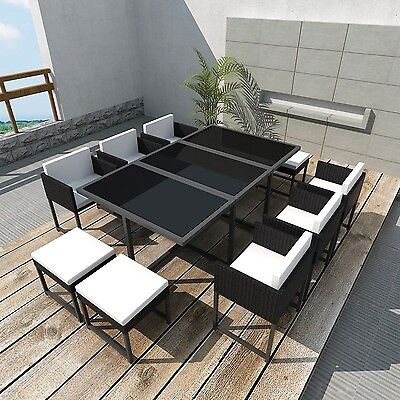 Outdoor 27pcs Rattan Dining Table Chair Stool Set Black Garden Wicker Furniture