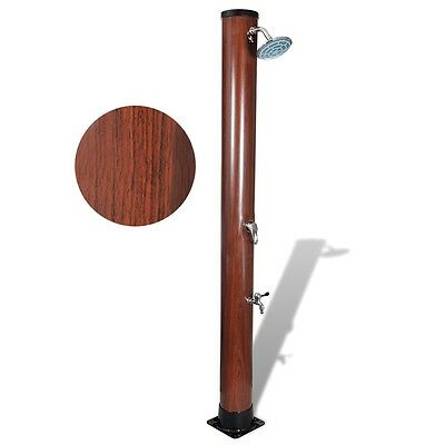Brown 196cm 35L Pool Area Outdoor Solar Heated Shower Free Standing Resin Spray