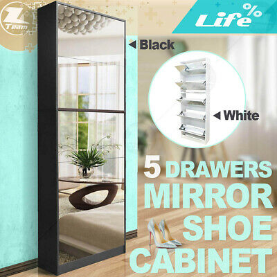 Mirrored Shoe Cabinet Shoe Rack Mirror Storage Organiser 5 Drawers up to 25 pair