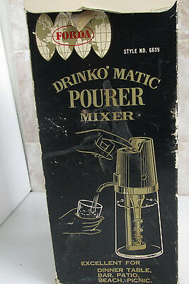 Vintge Drinko Matic Pourer Mixer Forda Glass Drinks Battery Op 1960's In Box
