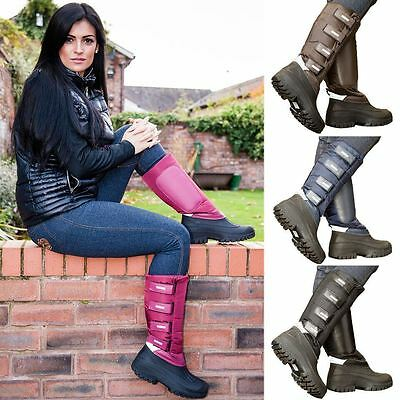 Ladies Dog Walking Country Horse Riding Festival Fleece Welly Long Mucker Boots