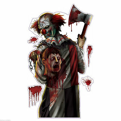 Killer Clown Halloween Creepy Carnival Circus Party Wall Grabber Decoration